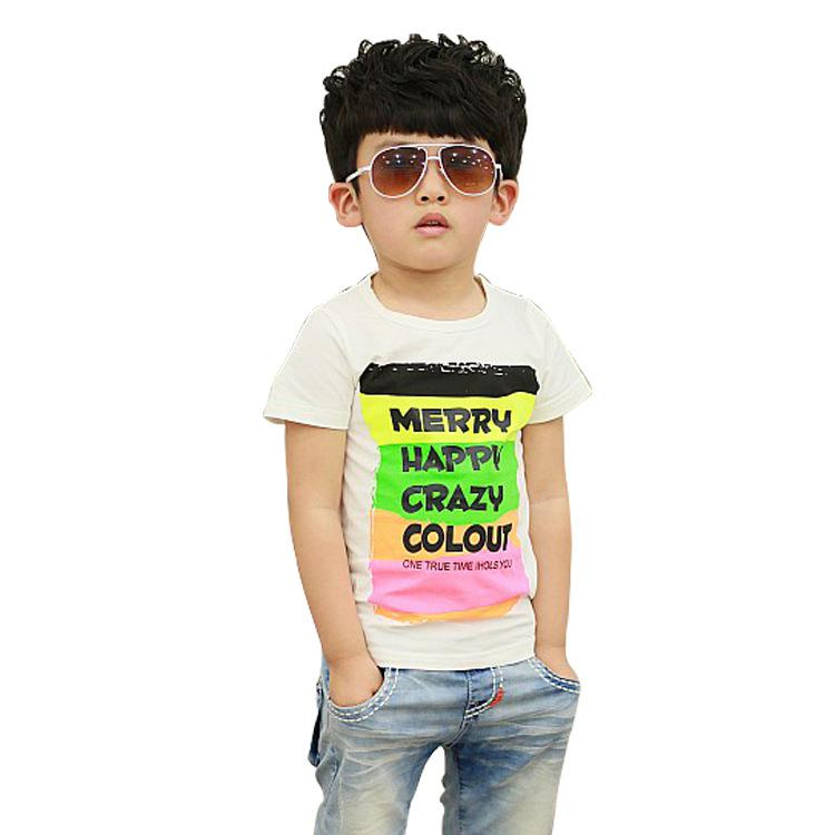 2017 2013 Summer New Korean Boy Fashion Colored Bars Letters Children Short Sleeved T Shirt From