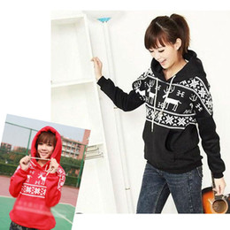 Wholesale FASHION FLEECE SNOWFLAKE ELK PATTERN HOODIE SWEATSHIRT WF