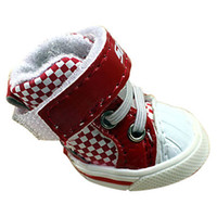 Wholesale Cheap Lovely Dog s Shoes Pet Shoes Sporty Plaid Pattern Velcro Shoe for Dogs Assorted Color Piece