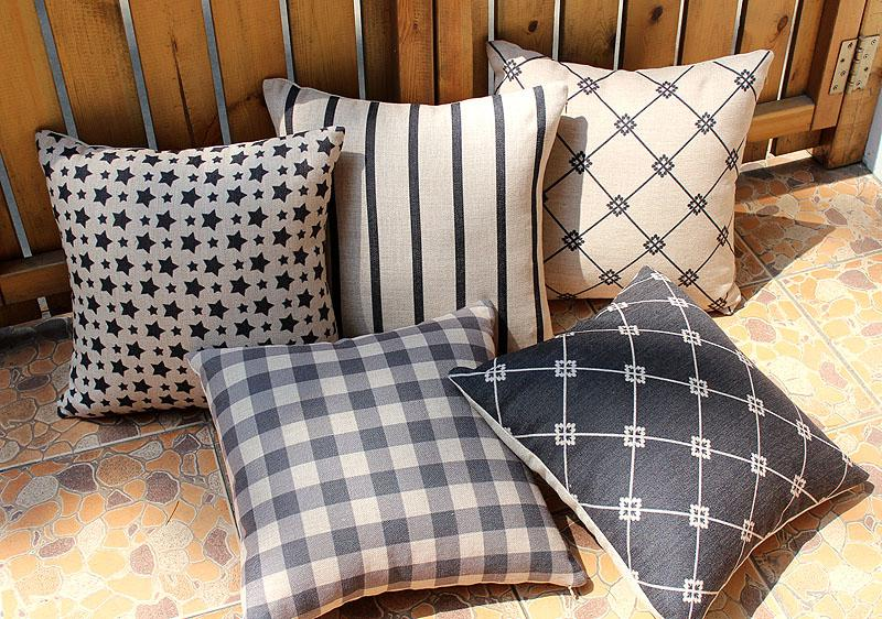 nordic geometric checked plaid stripe star pattern linen cotton cushion cover home cafe hotel. Black Bedroom Furniture Sets. Home Design Ideas