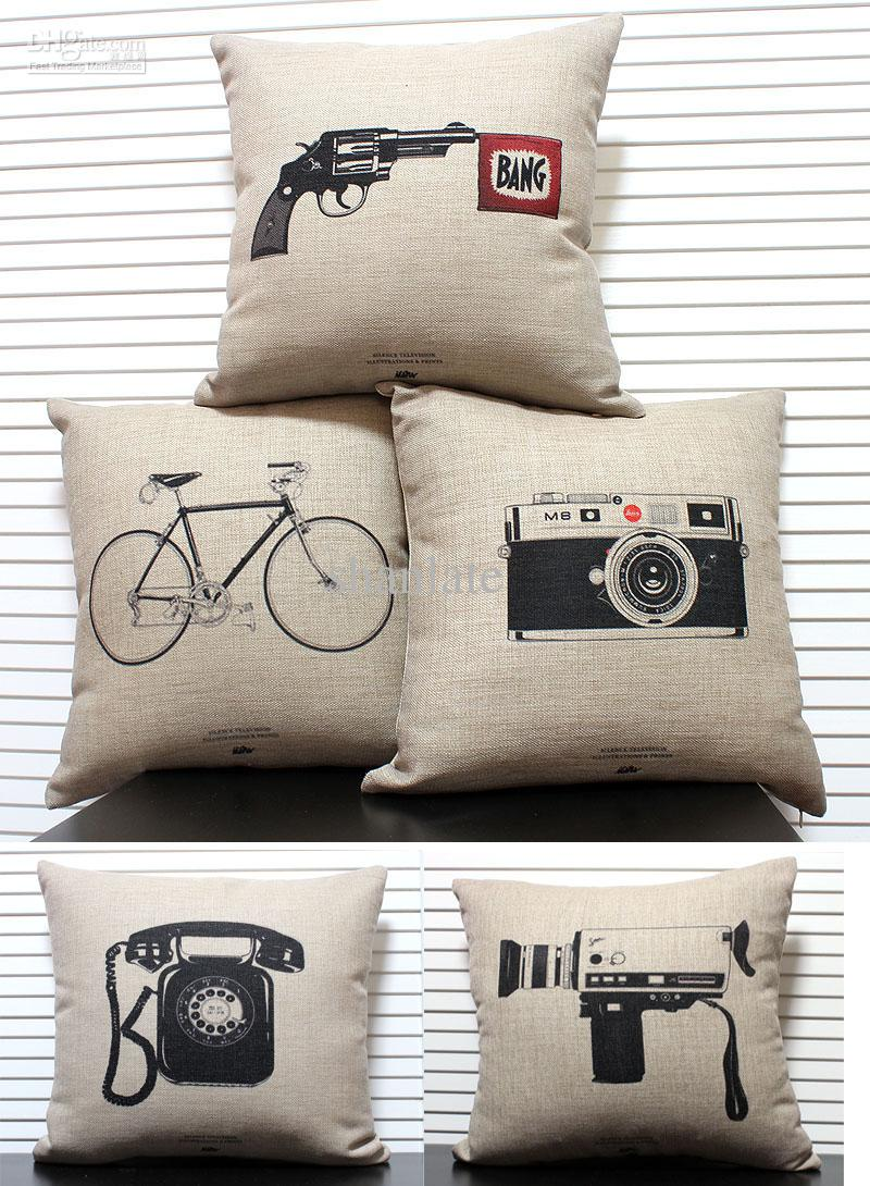 Novelty Gift Retro Sketch Vintage Telephone Camera Gun Bike Pattern Linen Cotton Cushion Cover Home Decor Throw Pillow Case Cushion Cover Pillow Case Home