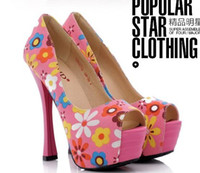 Wholesale Hot Sale Specials new style leopard princess peep toe sexy flower heels sandals EU34