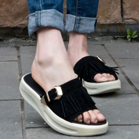 Wholesale Leather tassel thick soled sandals and slippers metal buckle platform shoes shook his shoes