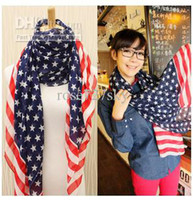 Wholesale USA Flag scarf Fashion lady pashmina Summer girl scarf Soft scarves Beach shawl Girl Wraps