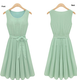 Wholesale fashion new summer women dress summer new chiffon sleeveless silk dress
