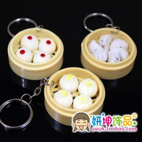 Wholesale Simulation food steamed stuffed bun model KEY CHAIN RING simulation food keychain ring food steamer