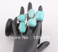 Wholesale 2016 Vintage Turquoise Ring Alloy Exotic Tibetan Natural Turquoise Stone Rings