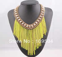 2013 Fringe Tassel Necklace Crystal Fluorescence Neon Color ...
