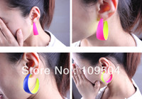 Wholesale New Fashion Fluorescent Hoops Earrings Contrast Neon Color Loop Earring