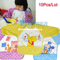 Wholesale Baby Kids Infant water resist Feeding baby Bibs Apron Art kids Smock shirts