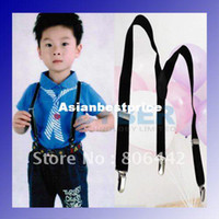 Wholesale Children Toddlers Clip on Adjustable Suspenders Braces Infants Elastic Y Back Kid Baby Black freeshi