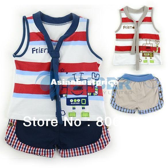 Baby boy clothing set kids summer wear suit 12 36 months cotton vest