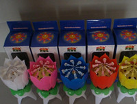Wholesale EMS magical musical LOTUS rotating birthday candle
