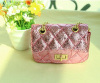 Wholesale NEW kids girls s Shoulders handbag Messenger Bag girl girls bling pu patent leather plaid