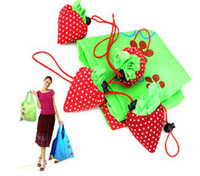Wholesale Best Price Strawberry Foldable Eco Bag Reusable Shopping Tote Shoulder Purse Cute Beauty