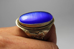 CHINESE TIBET-SILVER DRAGON PHOENIX INALY JADE RING