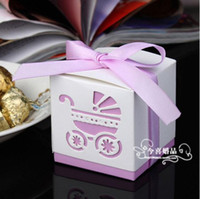 Wholesale New Personality Cute Wedding Supplies Favor Candy Boxes Laser Cut Baby Carriage