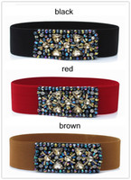 Wholesale hot color diamond wide girdle wild elastic belt decorative belt Korean fashion Stretch skirt belt