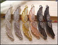 Zinc Alloy angels connectors - DIY Mix Color Metal Sideways Rhinestone Angel wings Connectors Charms Beads