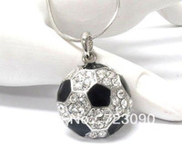 Wholesale a sport rhodium plated black enamel soccer with crystal pendant necklaces jewelry