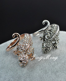 Wholesale Antique Rings Silver Plated Vintage Retro Cocktail Crystal Lizard Rings Cute Ring Jewelry
