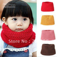 Wholesale 12pcs Baby Kids Arcylic Pure Color Grid Collar Children s Lovely Candy Neck Warmer Scarf free shi