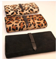 Wholesale Horse Hair Leopard Pattern Genuine Leather Lady Women Purse Wallet
