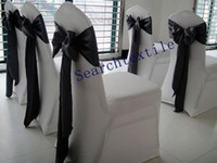 Wholesale mix order white spandex chair covers black satin chair sashes for wedding