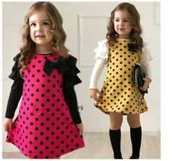 2016 fashion hot Girls' long sleeve T-shirts dress girls spring autunm dresses kids printed dot bow Children dresses clothing
