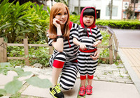 Wholesale Family Clothing New Summer Tracksuits Top Hooded Stripe Tops Middle Length Pants