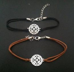 fashion round shape alloy charms connectors leather bracelet