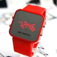 Digital display mirror - Luxury LED Watch Digital Display Mirror Mens Touch Screen Silicone Sport Unisex Women s Watches AAAA