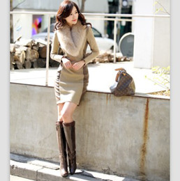 Wholesale Hot New Spring white collar Commuter Dress Stylish and Elegant Slim Fight Ladies Fitted Fur