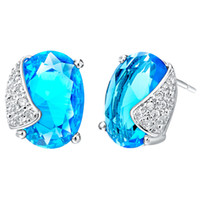 Wholesale Factory Price Charming Platinum Plated Woman Earrings With Big Austria Crystal R159