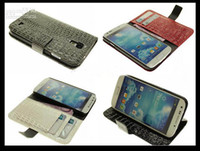 Wholesale Snake Crocodile Wallet Stand Leather Case Skin Cover Pouch for Samsung Galaxy s4 SIV I9500 Mix Color