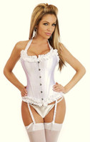 Women other  Free shipping! White Full Steel Boned Corset with 22 Metal Boning Steel Buckle Front Sexy Lingerie wholesale retail 8187