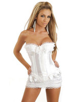 Wholesale Sexy Lingerie Noble wedding Corset White Bustier G String Mini Skirt