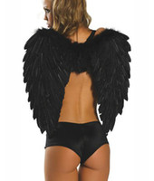 Wholesale Black Feather Angel Wings Sexy Dark Angel Costume Accessories Christmas Halloween Product retail
