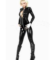 Wholesale Cat Suit With Deep V White Zipper Front Leather Lingerie Sexy Lingerie retail