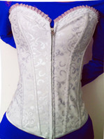 Women other  Free shipping! Embroidered Feminine Zipper Front Corset White Sexy Full Steel Boned Corsets Lace Back Wholesale And Retail 9009