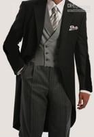Wholesale 2016 New suits for men Morning Suit Groom Tuxedos Notch Lapel Groomsmen Men Suits Jacket Pants Tie Waistcoat G751