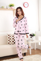 Wholesale 3Pcs Set Autumn Spring Floral Lace Women Pajama Sets in Pink Cotton Lady Pyjamas Sleepwear P6842