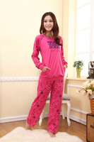 Wholesale Spring or Autumn Fashion Women Pink Pajamas Set Lady Pyjamas with hat Fancy Cotton Sleepwear P6828