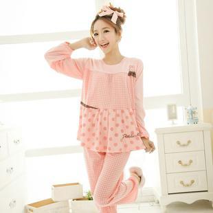 2017 Pretty Girl Pajamas Set In Pink / Khaki Fashion Women ...