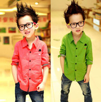 Wholesale Kids Clothing Boy T shirt With Collar Child Shirt Long Sleeve T Shirts Fashion Candy Casual Shirts