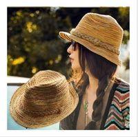 Wholesale 2013 Visor Sub Hat Rainbow Beach Straw Hats Shading Flanging High Top Dress Hat Summer Seaside
