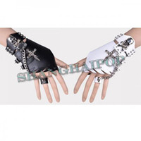 Wholesale Black Studded Leather Gloves Skull Punk Goth Wristband Costume Bracelet Chain