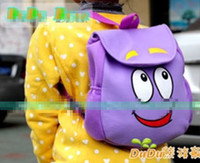Wholesale Dora the Explorer quot Backpack quot Mr Face Plush Backpack Shool Bag Purple Toddler Size