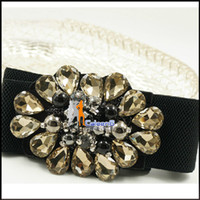 Wholesale Aristocratic Temperament Crystal Flower Luxury Wide Belt Fashion Elastic Lady Girdle A219