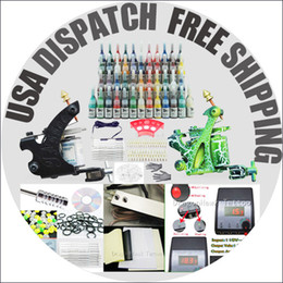 Wholesale USA warehouse Beginner Cheap Tattoo starter Kits Guns Machines Ink Sets Equipment Needle Power Supply D100 Free Razors